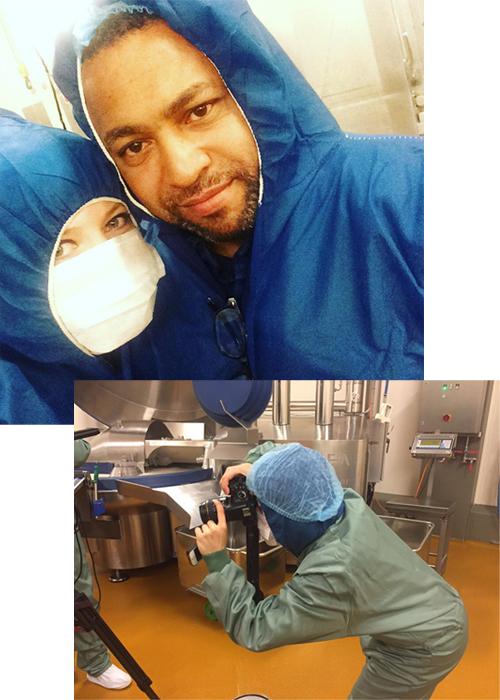 John Kantara und ich während der Dreharbeiten für den ARTE-Dokumentarfilm über vegane Ersatzprodukte