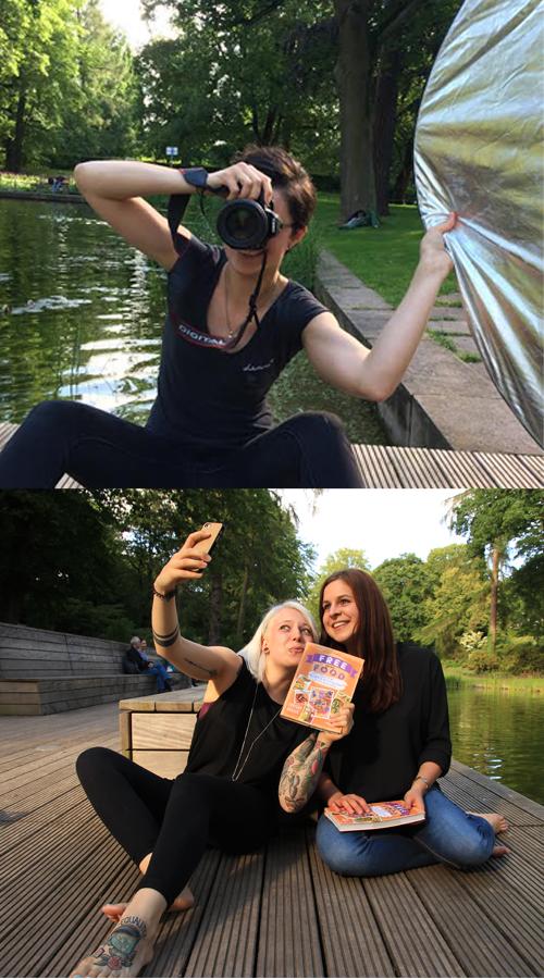 Mein Schätzchen Esther (oberes Bild) hat beim Fotoshooting vollen Körpereinsatz gezeigt. Das untere Bild zeigt Larissa und mich beim ähhh.. Selfies machen :D